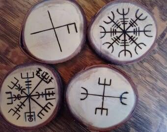 Wooden Coasters - pyrography coasters, norse sigils, icelandic sigils
