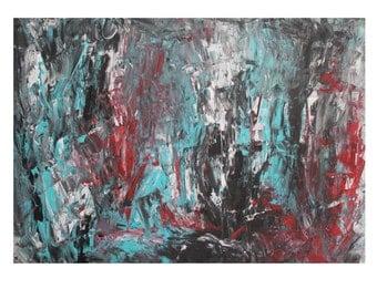 Turquoise - black - red 70x100cm