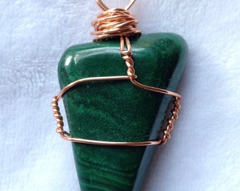 Malachite, crystal, copper wire wrapped, bamboo cord