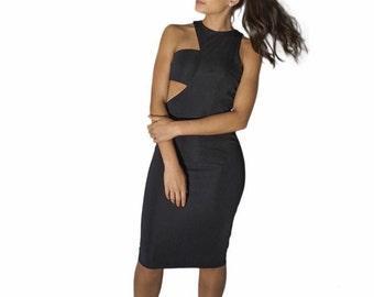 Black mini dress with cutout detail