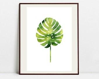 Monstera Art Botanical Print , Leaf Palm Watercolor Painting, Tropical Leaf Green Illustration, Digital Download Art Print