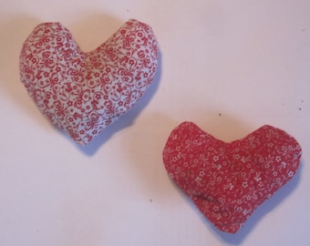 Red hearts, calico print, catnip toy