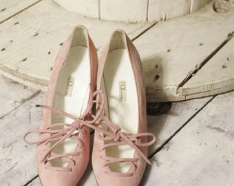 Vintage pink suede Pumps shoes size 38. New deadstock