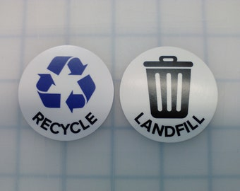 Recycle and Landfill Sticker Set, Laminated, 2 Inch Round