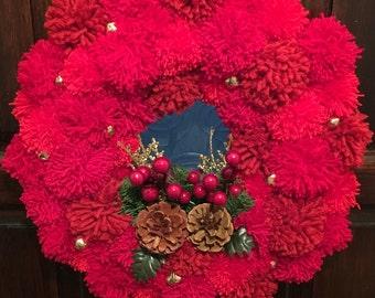 Christmas PomPom Wreath - Red