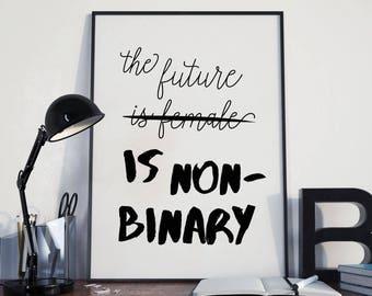 Non-binary Gender Equality Poster | feminist poster, feminist wall decor, feminist wall art, printable wall art prints, feminist print
