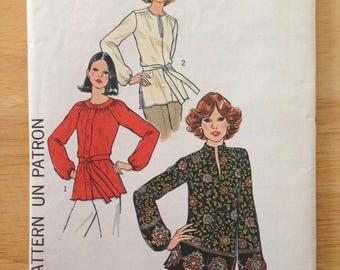Simplicity 7892, Vintage 1970s Top Pattern, Size 10, Bust 32 1/2, Waist 25, Hips 34 1/2