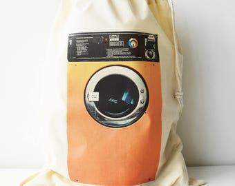 Laundry Bag, Washing Machine Print, Drawcord Cotton Bag, Storage Bag, 100% Cotton