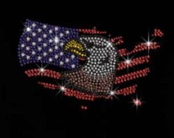 Rhinestone Eagle And American Flag  Ladies Lightweight T-Shirt or DIY Iron On Transfer                               1122
