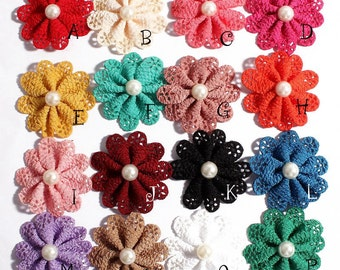 Free Shipping Newborn Hair Flower Accessories With Pearl For Wedding Artificial Fabric Flowers For Baby Headbands DIY Flower Supplies 5.5cm