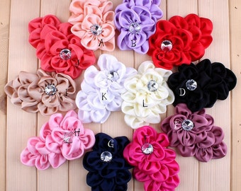 12 Colors Handmade Soft Lchthyosis Shape Fabric Headband Flower Artificial Wedding Decorative Flowers+Bling Buttons