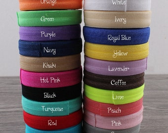 "5/8"" (15mm) 20colors Shiny Solid Fold Over Elastic Ribbon FOE for Baby Girls Elastic Headbands Hair Ties Hairbow"