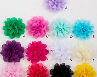 Free Shipping Big Fluffy Chiffon Flowers For Baby Girls Hair Accessories Artificial Fabric Flowers For Headbands DIY Flower Supplies 10cm
