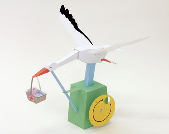 Moving Paper Craft — Expected Delivery, Printable PDF, Instant download, DIY, automata