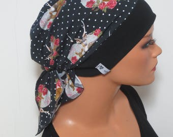 Head scarf Hat/CHEMO Hat costumes look spotted ideal for chemotherapy alopecia or hair loss convertible Cap turban scarf therapy