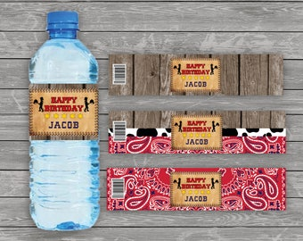 Cowboy Water Bottle Label, Western Water Bottle Label, Wild West Bottle Label, Country Water Bottle Label, Personalized Water Bottle Labels