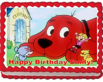 Clifford the Big Red Dog edible cake topper, Cake topper personalized free- Clifford the big red dog edible icing image,Clifford cake topper