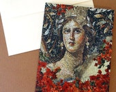 Mosaic and Flower Card, Mona Lisa of the Galilee, Ancient Art, Digital Collage, Note Cards, Woman Portrait, Israel Sight, Ancient Artwork
