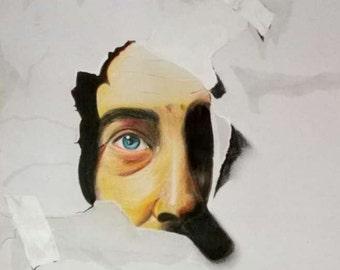 "Drawing illustration Art work Original 3D drawing ""Peeping through"" Home decor"