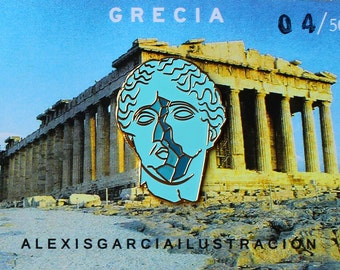 greece/grecia enamel pin