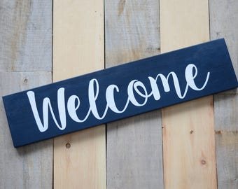 Welcome - solid wood, painted sign - home decor - gift - wall decor