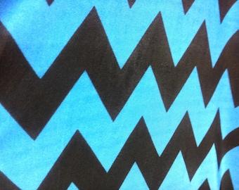 Blue and black chevron print