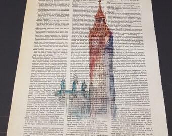 Vintage Dictionary print - Big Ben