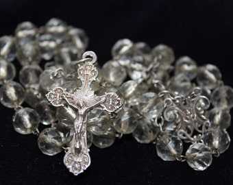 French vintage Crystal Sterling Silver Rosary
