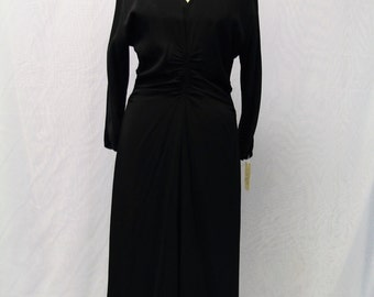 1950's  Long Sleeve Dress with Beaded Collar and Chest Slit