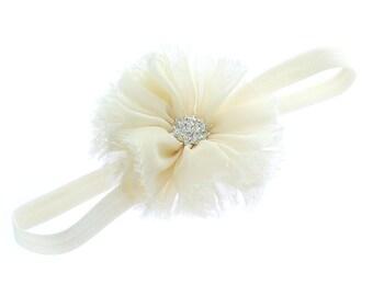 Ivory Baby Frayed Ballerina Flower Headband