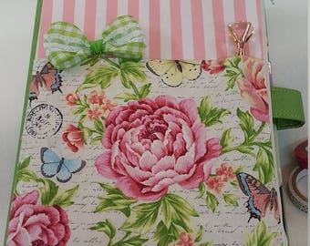 Planner Zipper Pouch - Pink Stripes w/Flowers
