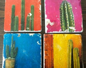 Cactus Coaster- Desert tiles, stone coasters,  set of 4