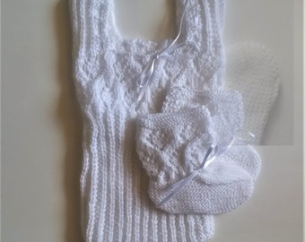 Crochet Singlet and Booties Set Baby Girl White