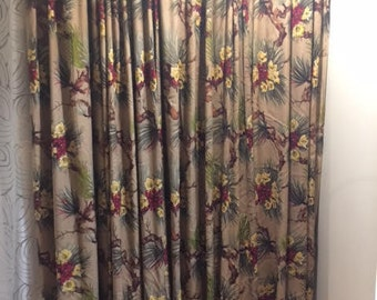 Barkcloth Mid Century Vintage Drapes IMMACULATE- FOUR Large Panels GORGEOUS