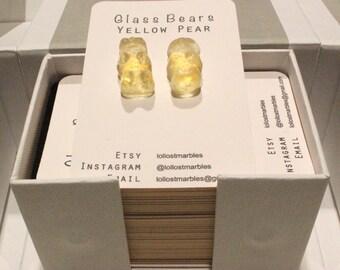 Yellow Pear Glass Bear Earrings