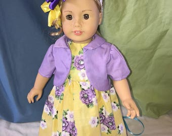 Purple and Yellow Easter Sunday Dress with Headband for 18 inch Doll