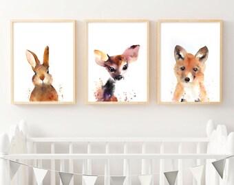 Fox Cub Watercolour Fine Art Print, Woodlands Nursery Art Prints, Fox Wall Poster Decor, Baby Animal Printable Fox Cub, Digital Download