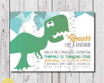 Dinosaur invitation, digital download, children's invitation