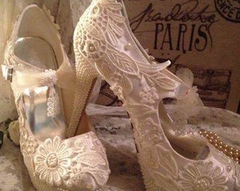 Ivory lace and pearl bridal shoes