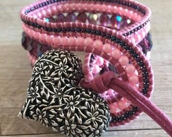Pink heart clasp style Chan Luu bracelet
