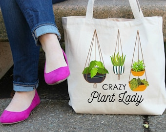 Crazy Plant Lady Canvas Tote