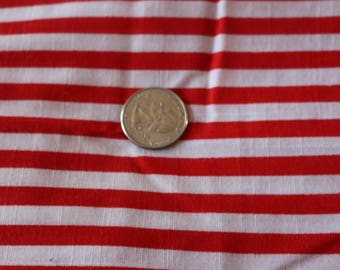 16 Red and White stripe vintage fabric