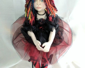 Artdoll,gothic, punk handmade unique funky gift hand painted