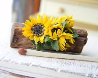 Dollhouse Flowers Miniature 1:12, Miniature Sunflower, Rustic,Provence, Country Decor, Vintage Style, Miniature Flower Bouquet, Table Decor