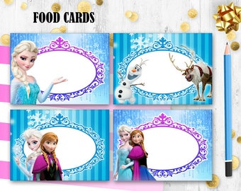 Frozen Food cards Food tents Place cards Elsa food cards tents