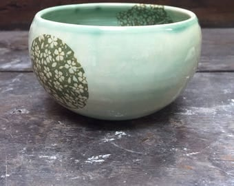 Green stoneware, pattern flowers Bowl