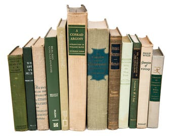 Set of Vintage Green & Beige Old Books for Decor, Instant Library, Book Themed Wedding Centerpiece, Gifts for Book Lovers, Shabby Chic Decor