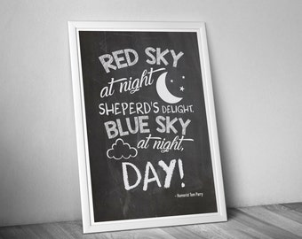 Digital, Printable, Chalkboard, Funny, Red Sky At Night, Gift, Jpeg/PDF A4