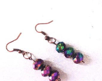 Purple mermaid bead earrings