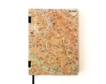Hardcover A5 Rome vintage map dot grid notebook for Bullet Journal
